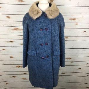Mister Julius Blue Coat Rabbit Fur Collar Vintage
